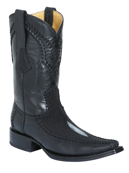 124414 Men's Cowboy Exotic Boot Stingray Paris/Black
