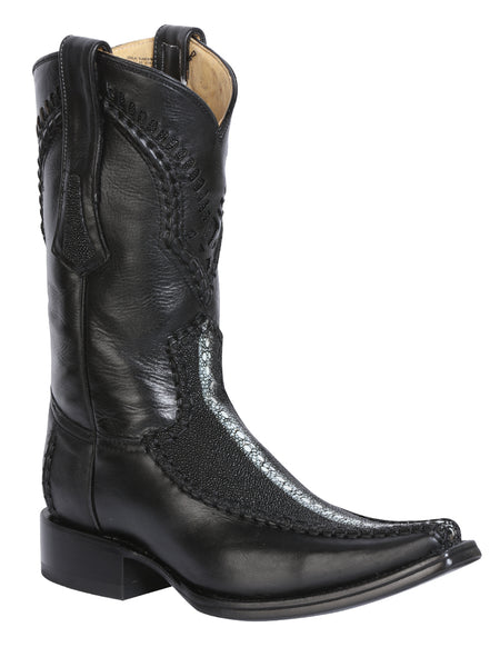 124429 Men's Cowboy Exotic Boot Stingray Paris/Black