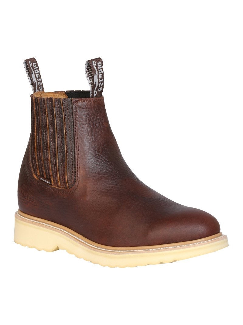 "Men's Work Ankle Boot Establo Leather Honey /  ""Botin Establo Para Trabajo"""