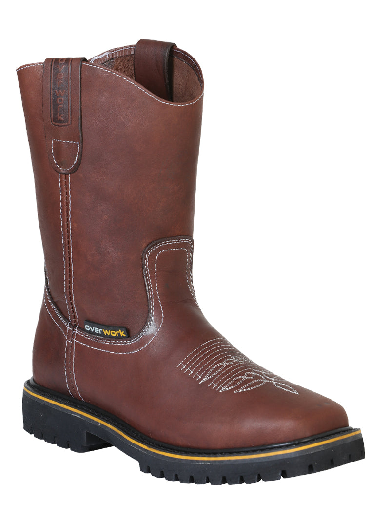 "Men's Work Boot's Steel Toe Leather Brown Square Toe / ""Bota Para Trabajo """