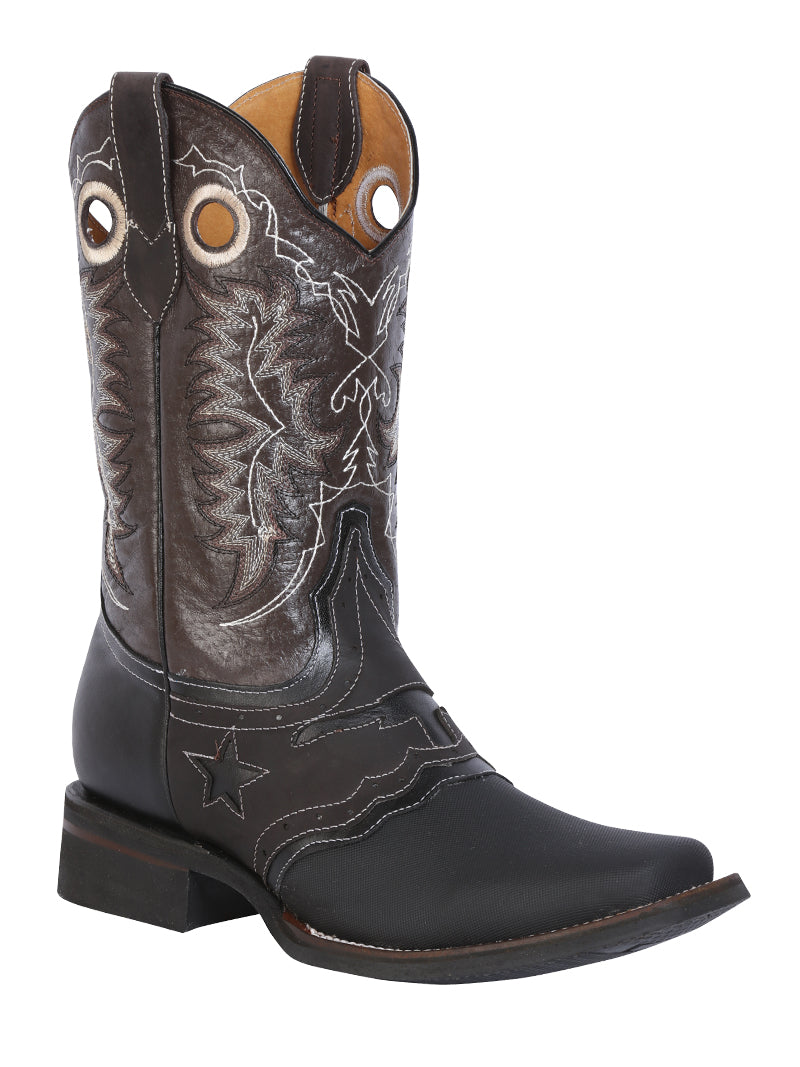 "Men's Rodeo Boot's Leather Keblar Black Square Toe / ""Bota Rodeo Piel Crazy """