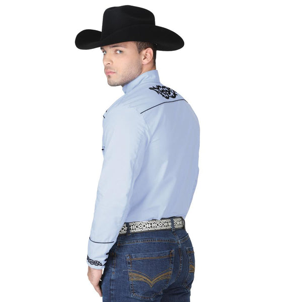 040785 Men's Charro Shirt El General Blue