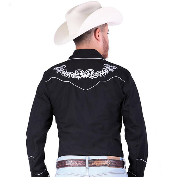 040987 Men's Charro Shirt El General Black