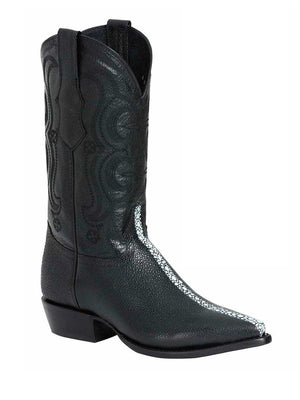41528 Men's Cowboy Leather Boot's / Imit. Mantarraya