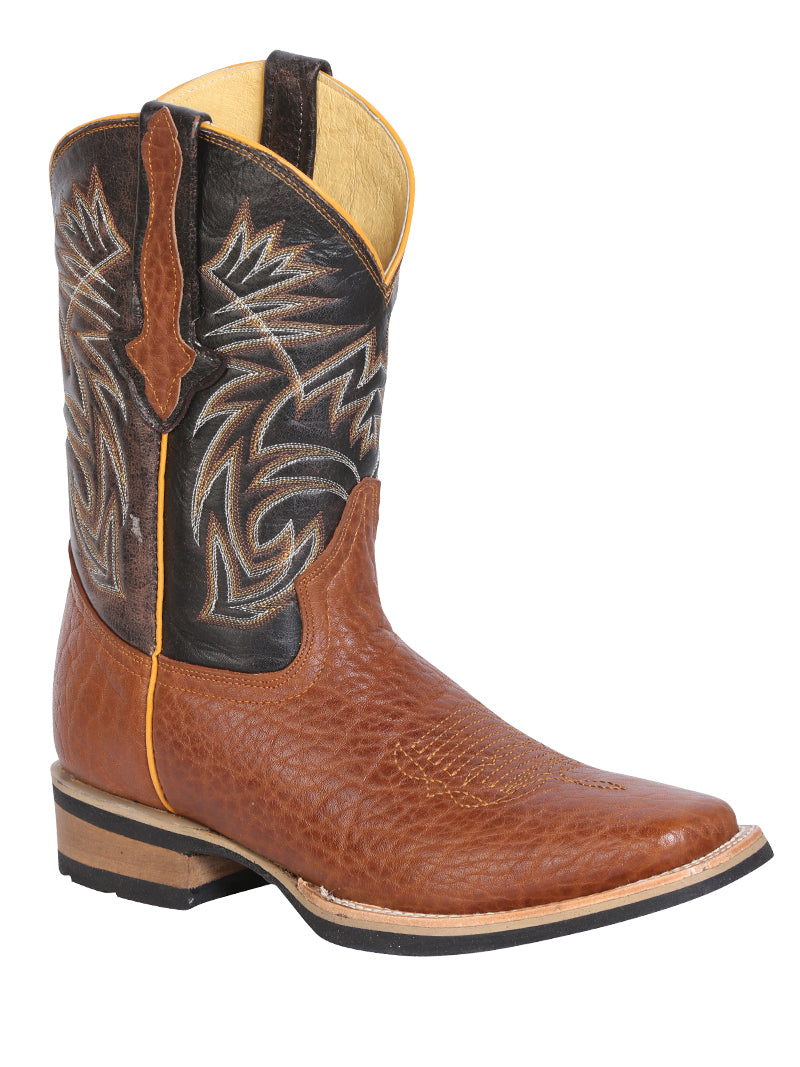 "Men's Leather Bull Neck Honey Boot Square Toe / ""Bota Rodeo Piel Cuello De Toro """
