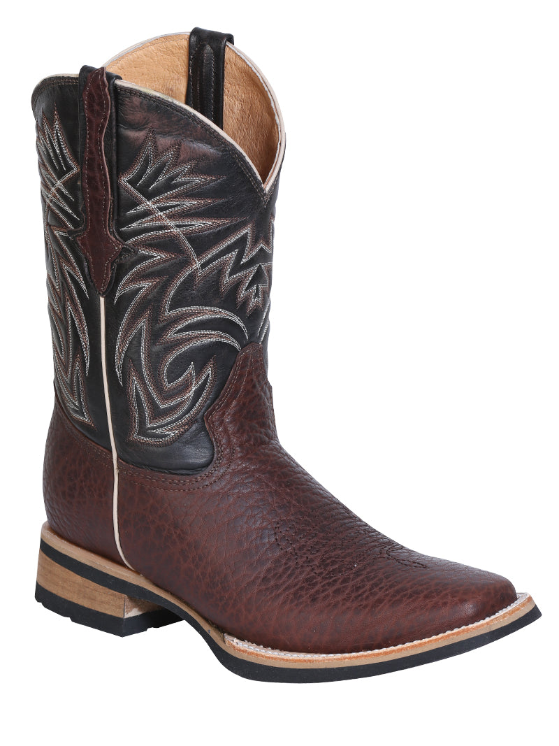 "Men's Leather Bull Neck Brown Boot Square Toe / ""Bota Rodeo Piel Cuello De Toro """