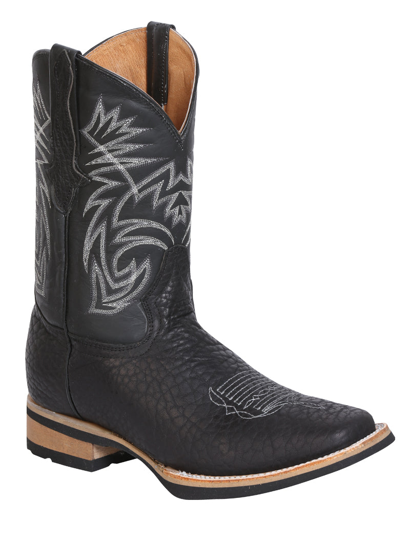 "Men's Leather Bull Neck Black Boot Square Toe / ""Bota Rodeo Piel Cuello De Toro """