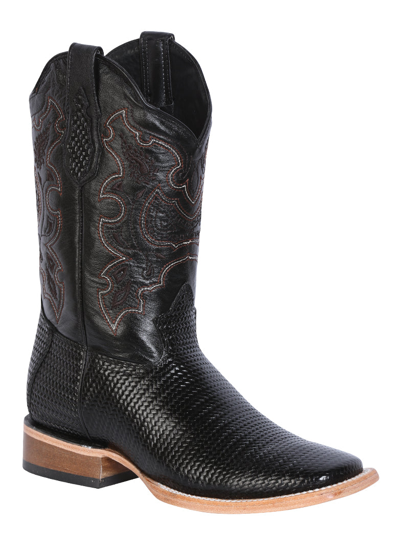 "Men's Rodeo Boot's Print Leather Black Square Toe / ""Bota Rodeo Grabado Piel"""