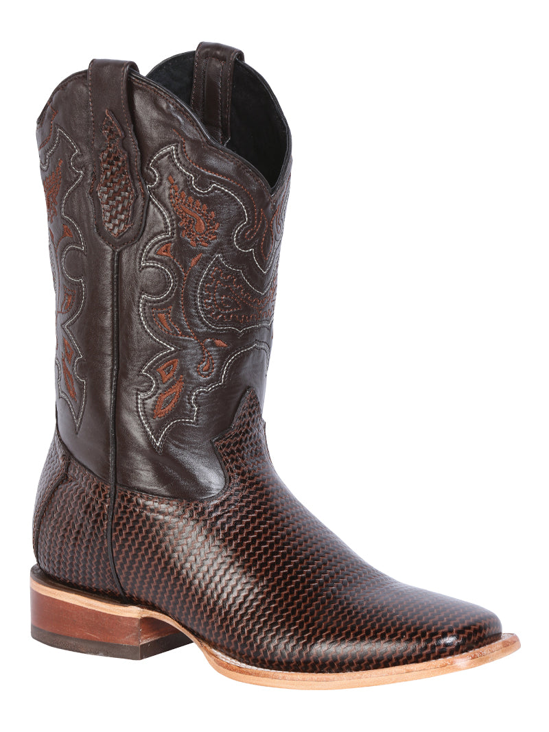 "Men's Rodeo Boot's Print Leather Brown Square Toe / ""Bota Rodeo Grabado Piel"""