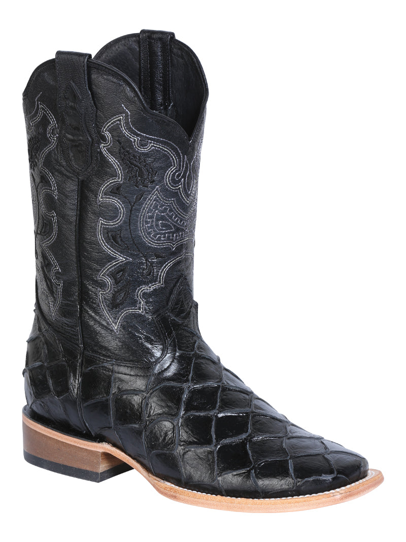 "Men's Rodeo Boot's Print Monster Black Square Toe / ""Bota Rodeo Grabado Pescado"""