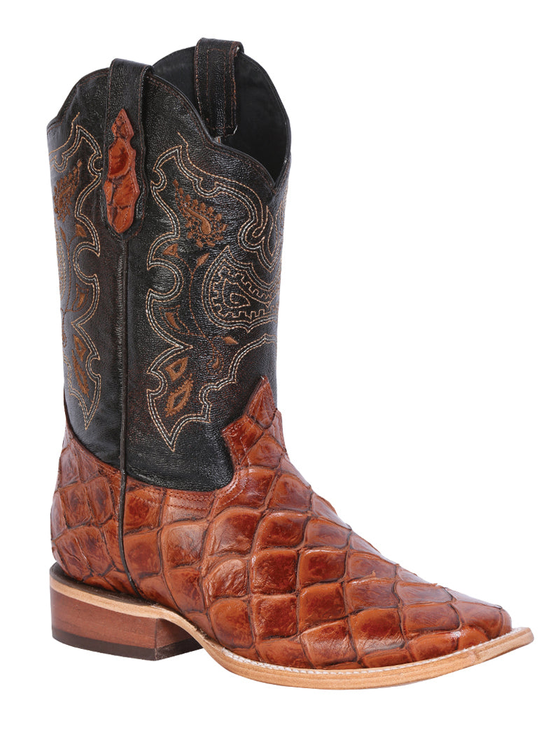 "Men's Rodeo Boot's Print Monster Cognac Square Toe / ""Bota Rodeo Grabado Pescado"""