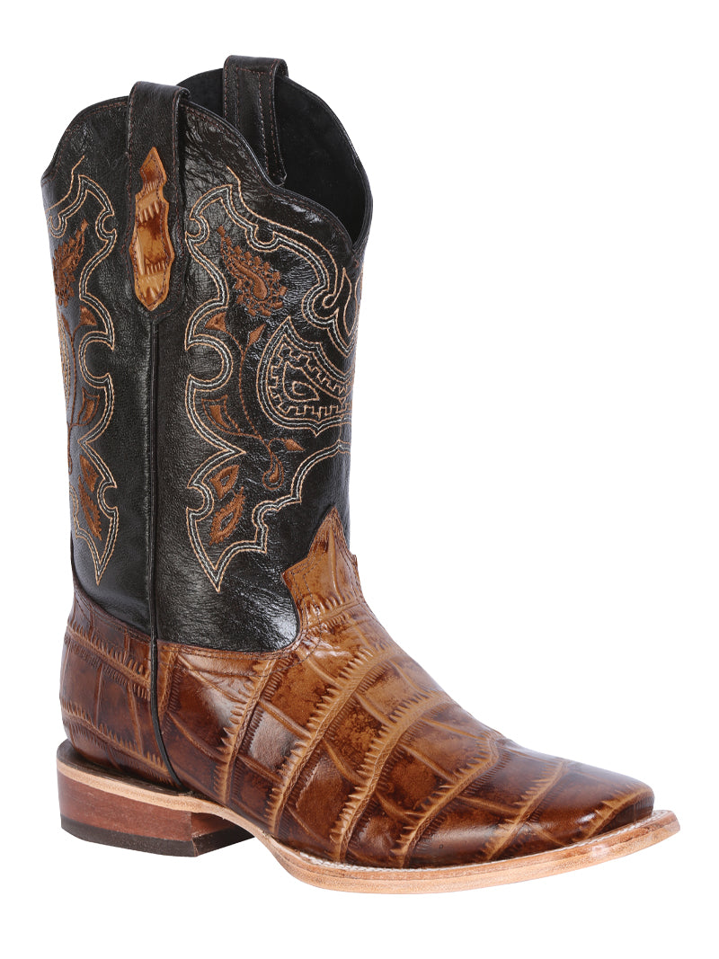 "Men's Rodeo Boot's Print Alligator Brown Square Toe / ""Bota Rodeo Grabado Piel Caiman"""