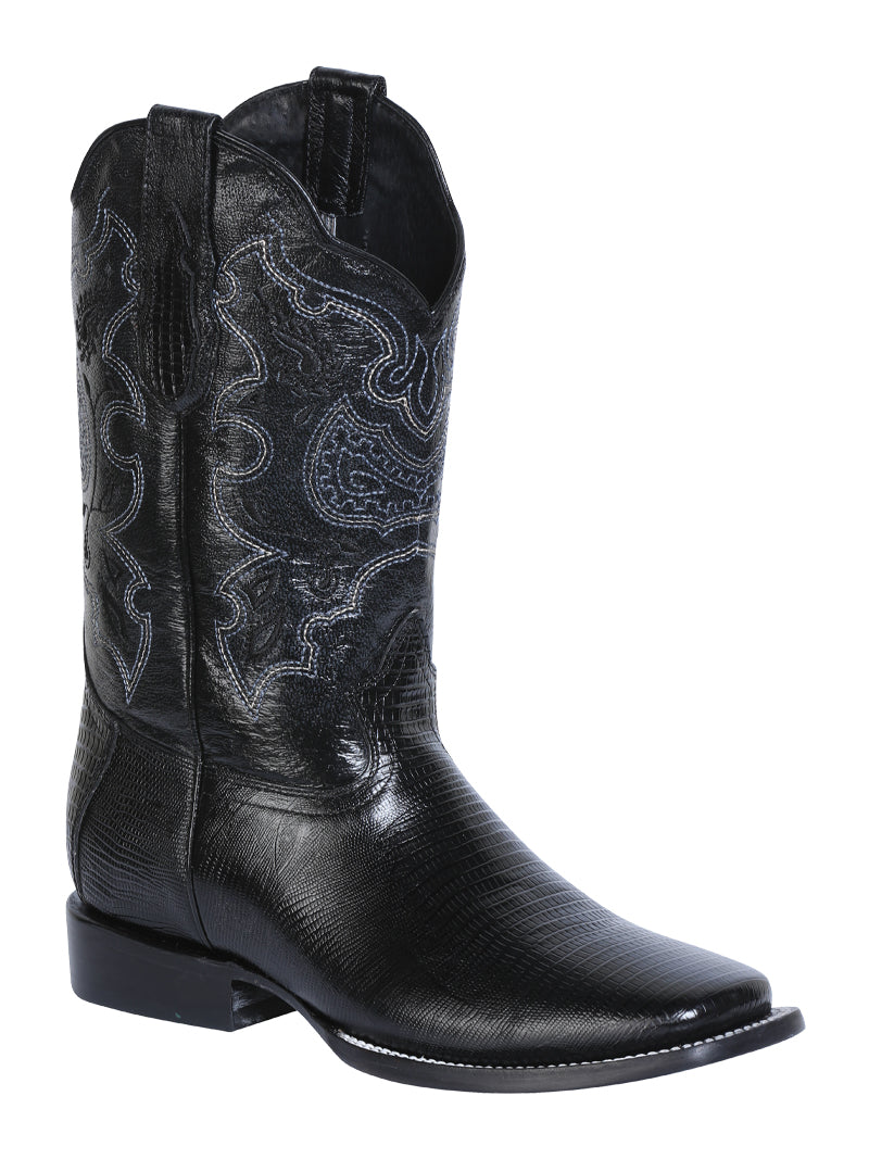 "Men's Rodeo Boot's Print Lizard Black Square Toe / ""Bota Rodeo Grabado Piel"""