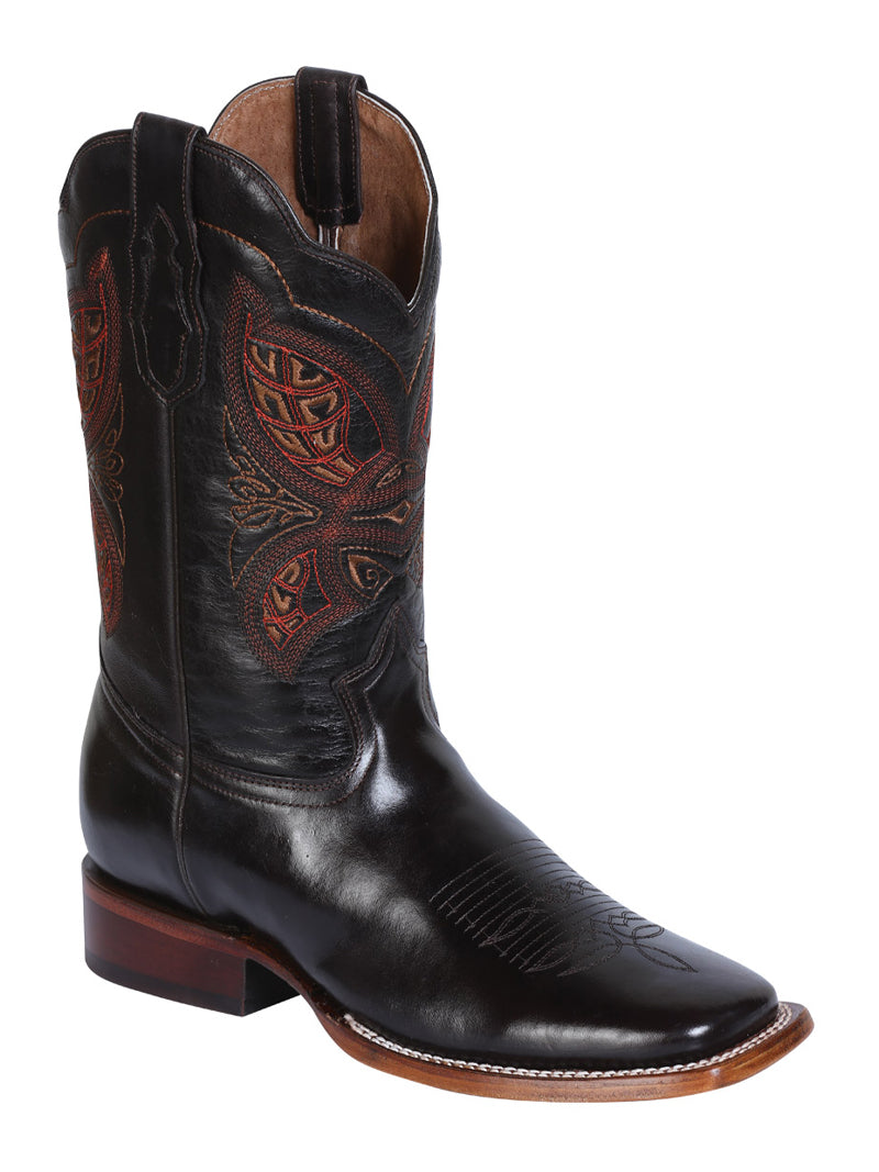 "Men's Rodeo Boot's Leather Brown Square Toe / ""Bota Rodeo Piel Acerado"""