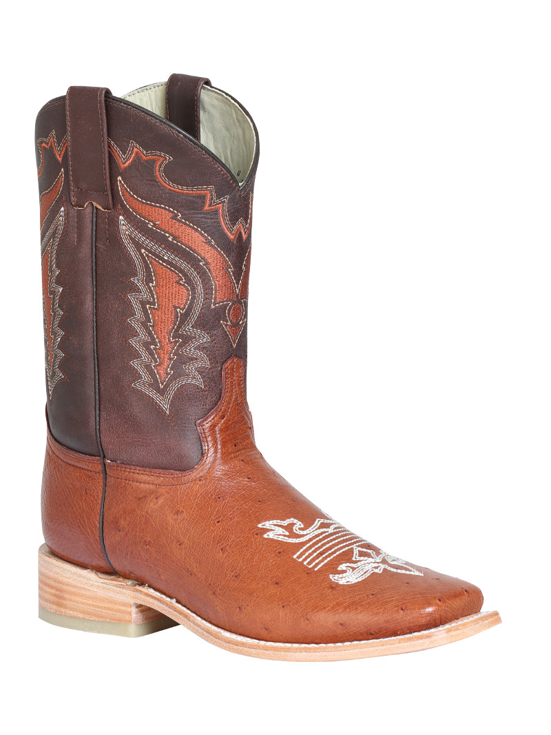 "Men's Rodeo Ostrich Belly Brandy Square Toe ""Bota Rodeo Original Para Caballero"""