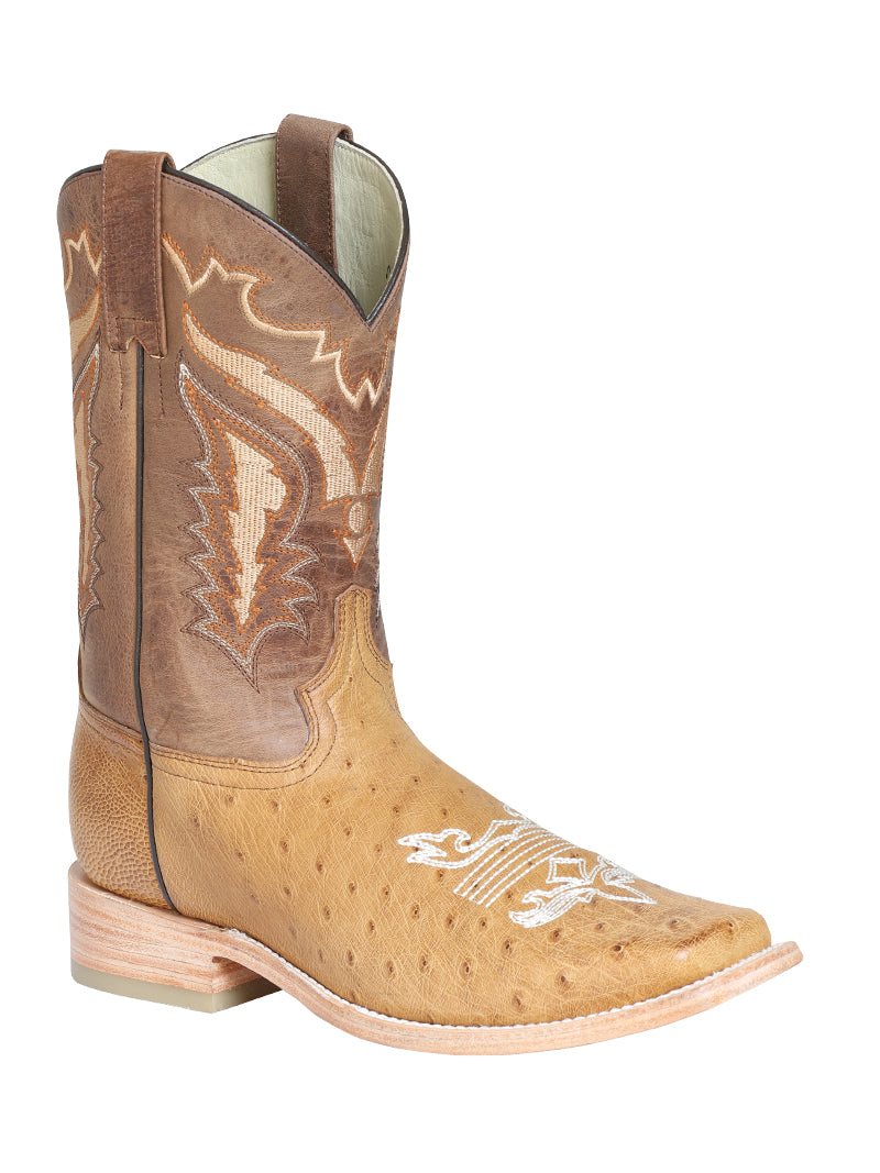 "Men's Rodeo Ostrich Belly Unber Square Toe ""Bota Rodeo Original Para Caballero"""
