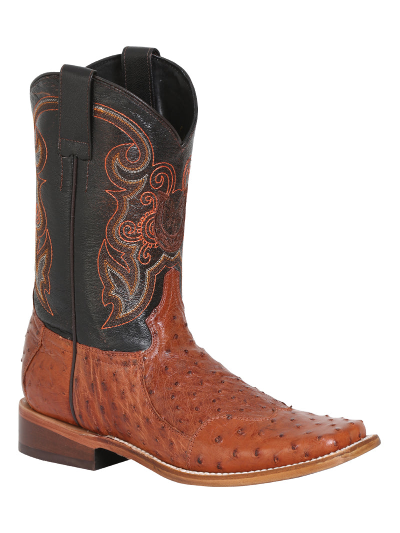 "Men's Rodeo Ostrich Neck Brandy Square Toe ""Bota Rodeo Original Para Caballero"""