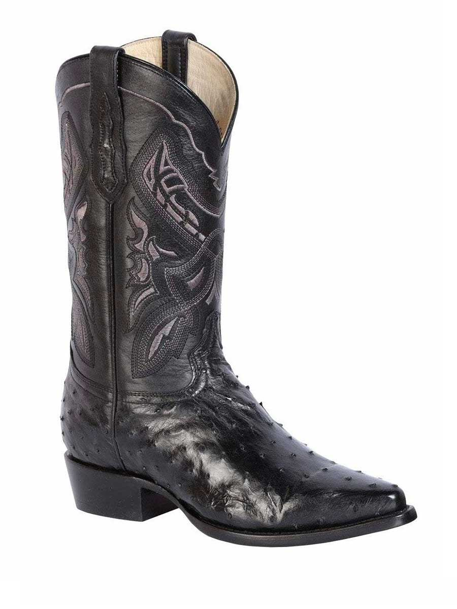 42764 Men's Cowboy Exotic Boot's Ostrich Black