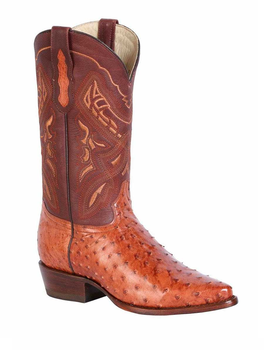 42765 Men's Cowboy Exotic Boot's Ostrich Brandy