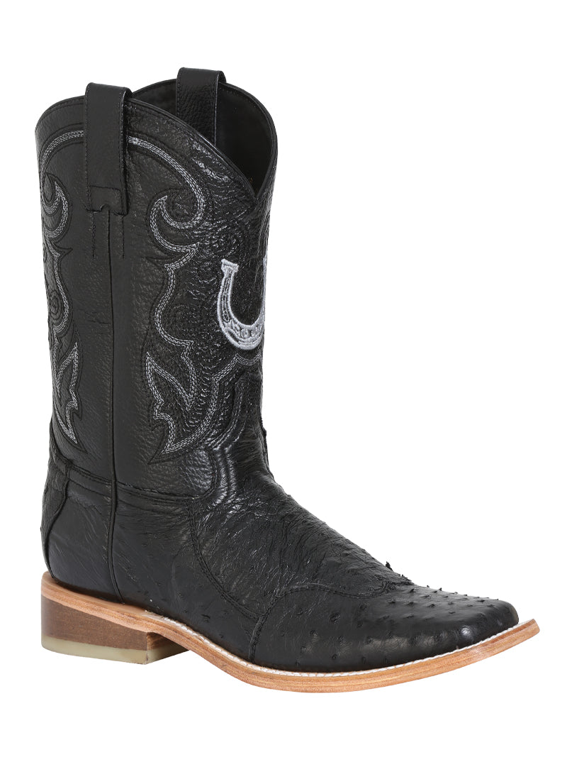 "Men's Rodeo Ostrich Neck Black Square Toe ""Bota Rodeo Original Para Caballero"""