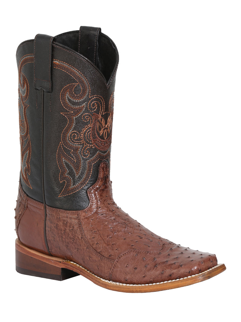 "Men's Rodeo Ostrich Neck Brown Square Toe ""Bota Rodeo Original Para Caballero"""
