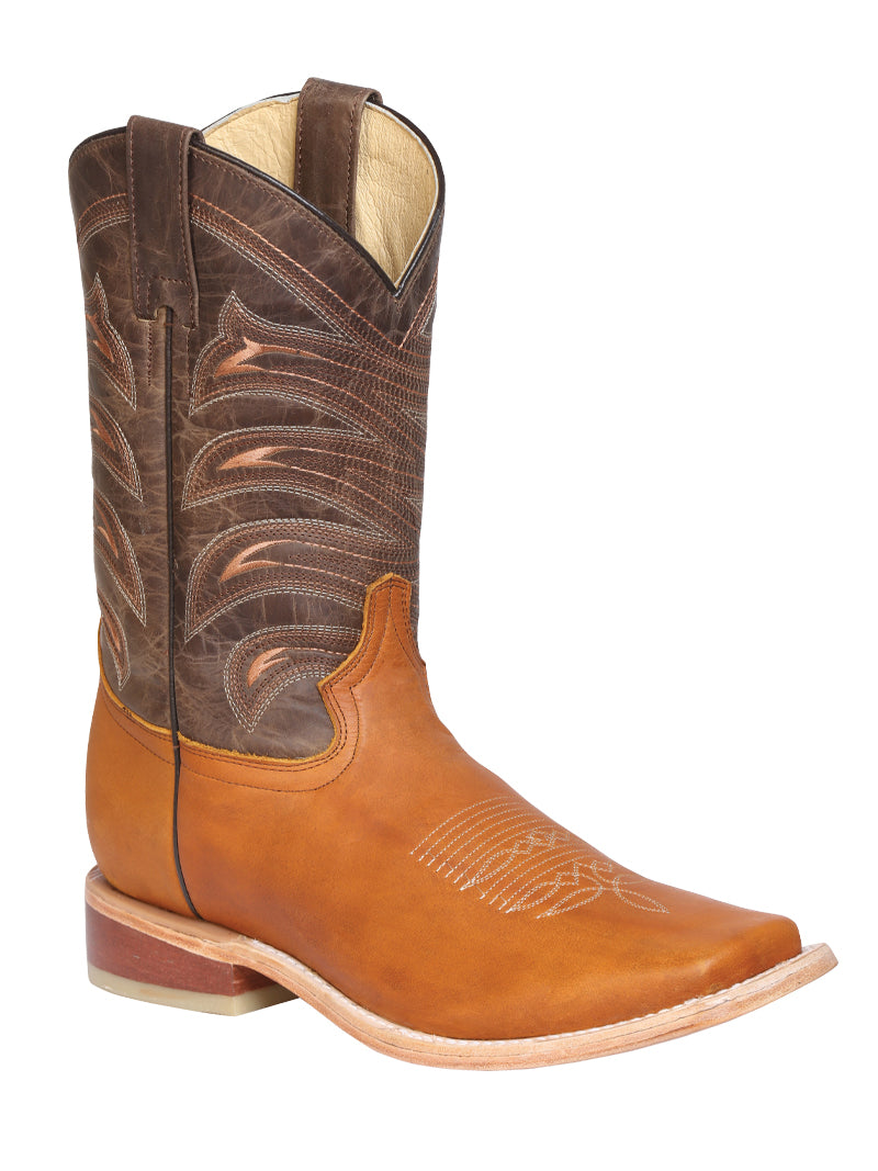 "Men's Rodeo Boot's Leather Honey Square Toe / ""Bota Rodeo Piel Crazy"""