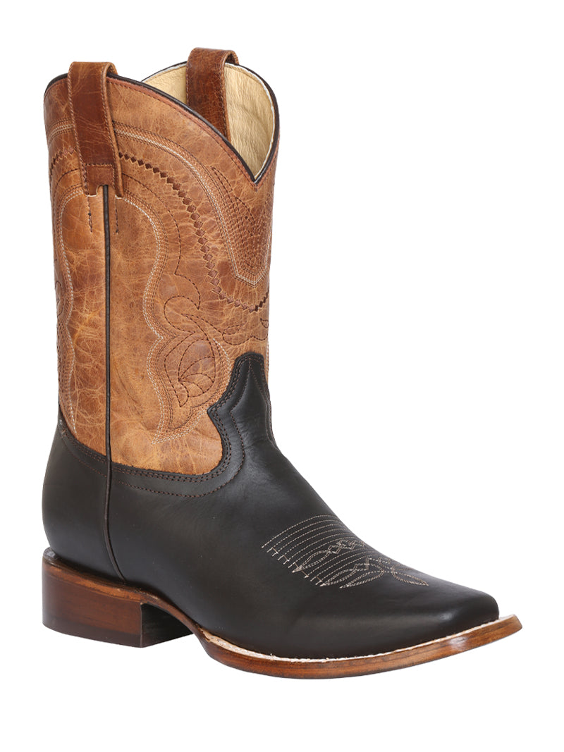 "Men's Rodeo Boot's Leather Brown Square Toe / ""Bota Rodeo Piel Crazy """