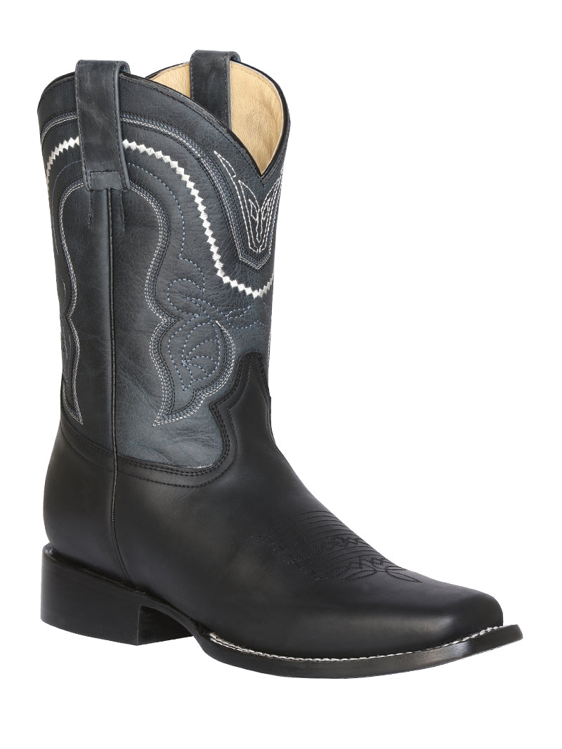 "Men's Rodeo Boot's Leather Black Square Toe / ""Bota Rodeo Piel Crazy """