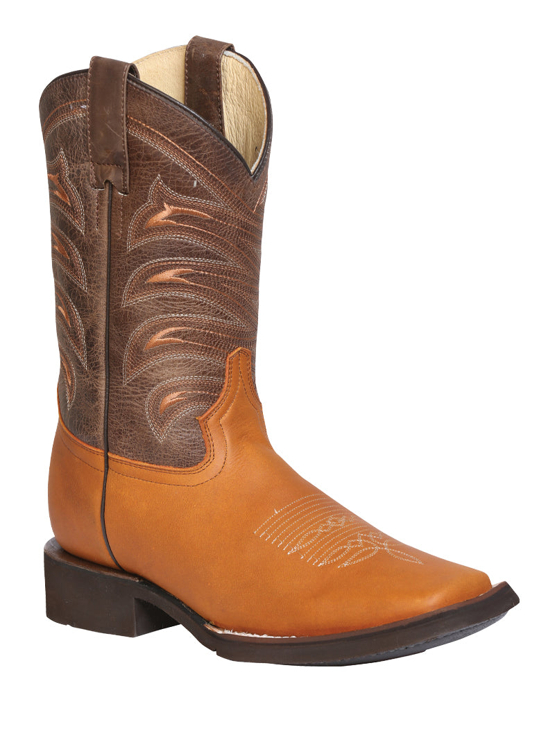 "Men's Rodeo Boot's Leather Honey Square Toe / ""Bota Rodeo Piel Crazy """