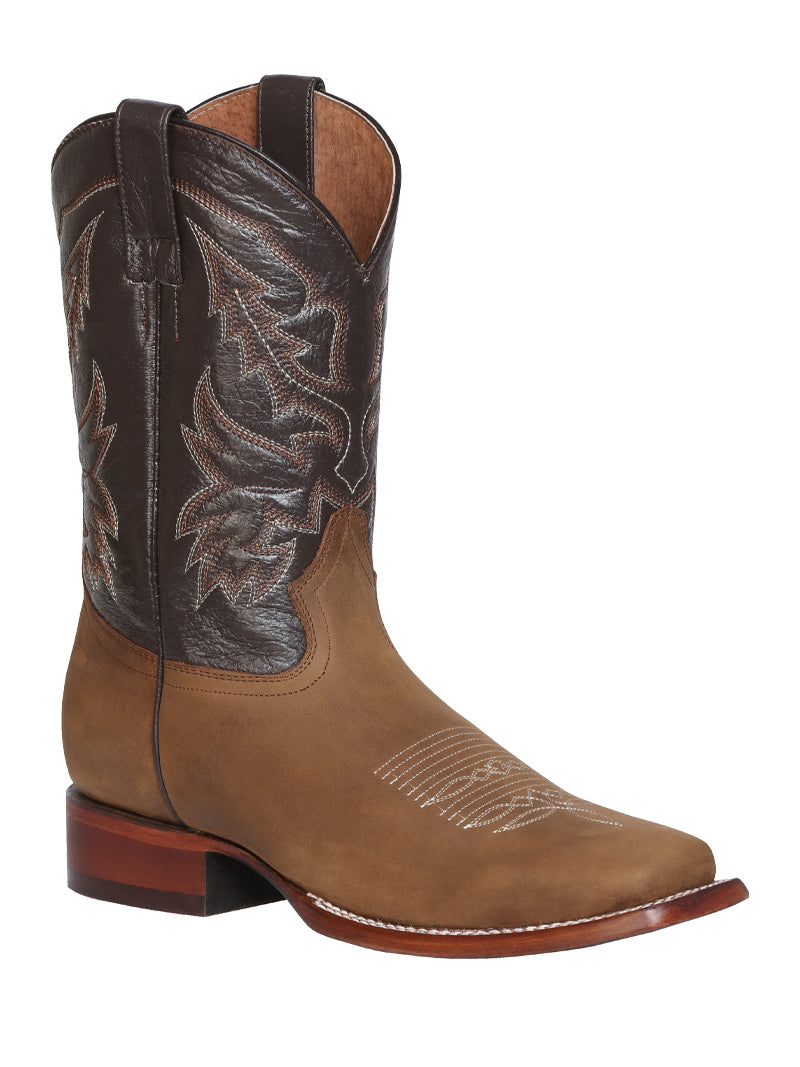 "Men's Rodeo Boot's Leather Light Brown Square Toe / ""Bota Rodeo Piel Crazy """