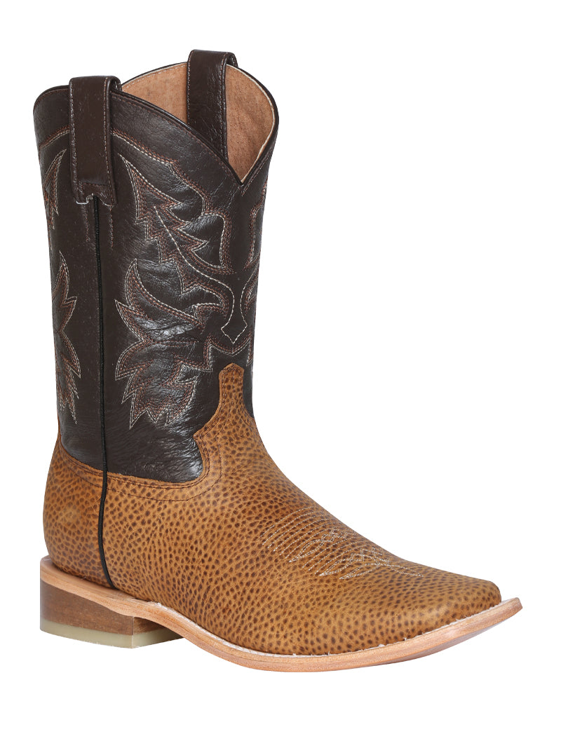 "Men's Rodeo Boot's Leather Honey Square Toe / ""Bota Rodeo Piel Floter """