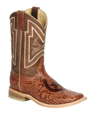 "Men's Rodeo Boot's Leather Cognac Square Toe / ""Bota Rodeo Piel Grabado Cincelado """