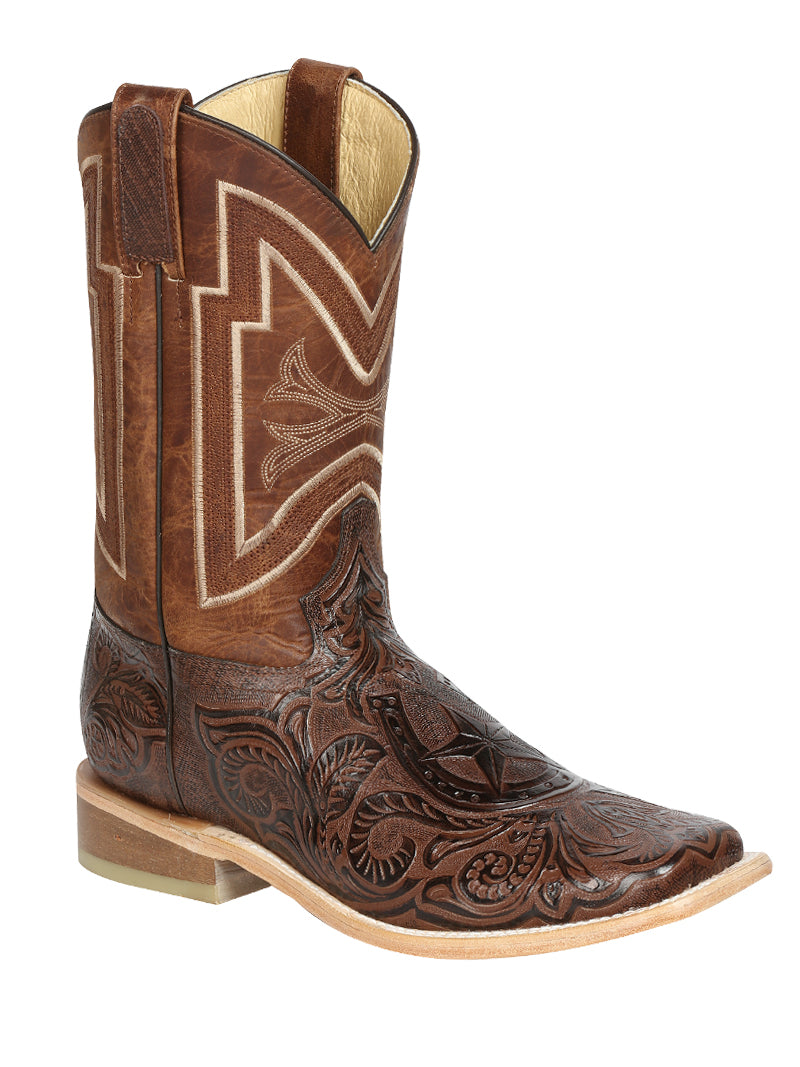 "Men's Rodeo Boot's Leather Brown Square Toe / ""Bota Rodeo Piel Grabado Cincelado """