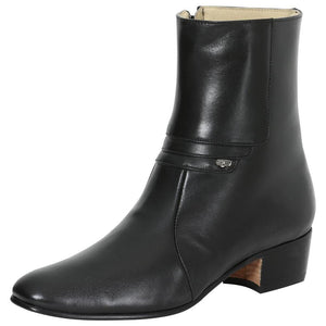 black rounded toe men ankle boots