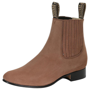 Camel rounded toe men ankle boots