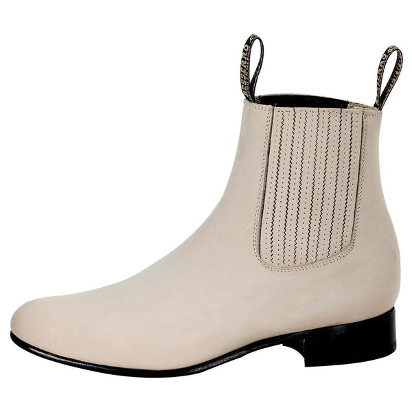 bone rounded toe men ankle boots