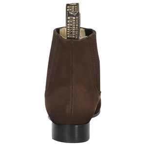 """Men's Charro Ankle Boot Leather Nobuck Brown"" - ""Botín Para Caballero Nobuck Cafe"""