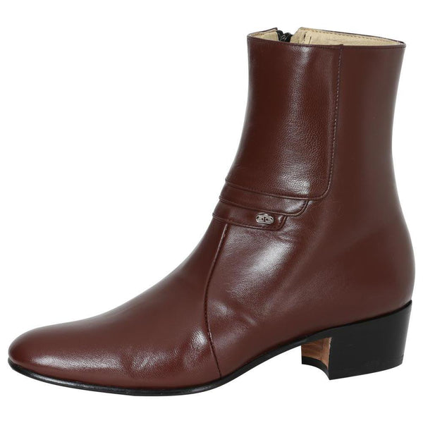 wine rounded toe men ankle boots