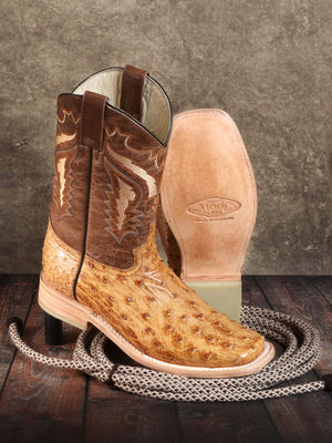 "Men's Rodeo Full Quill Ostrich Umber Square Toe ""Bota Rodeo Original Para Caballero"""