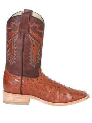 "Men's Rodeo Full Quill Ostrich Brandy Square Toe ""Bota Rodeo Original Para Caballero"""