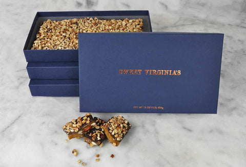 1 Pound (16oz) Large Boxed Almond Toffee Bar | 3 Pack - Navy