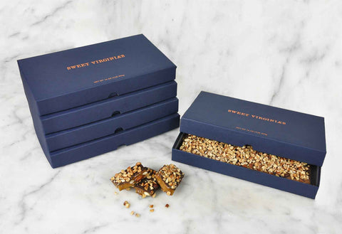 1 Pound (16oz) Large Boxed Almond Toffee Bar | 5 Pack - Navy (FREE SHIPPING)