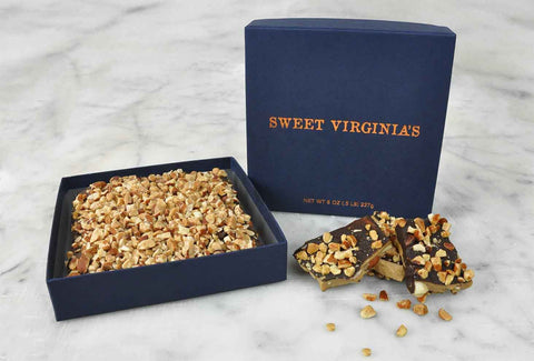 1/2 Pound (8oz) Medium Boxed Almond Toffee Bar - Navy