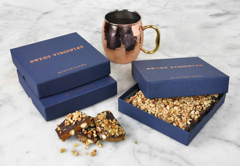 1/2 Pound (8oz) Medium Boxed Almond Toffee Bar | 3 Pack - Navy