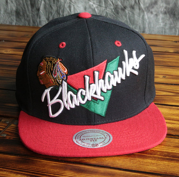 Chicago Blackhawks Mitchell & Ness Triangle Script 2 Tone Snapback Hat