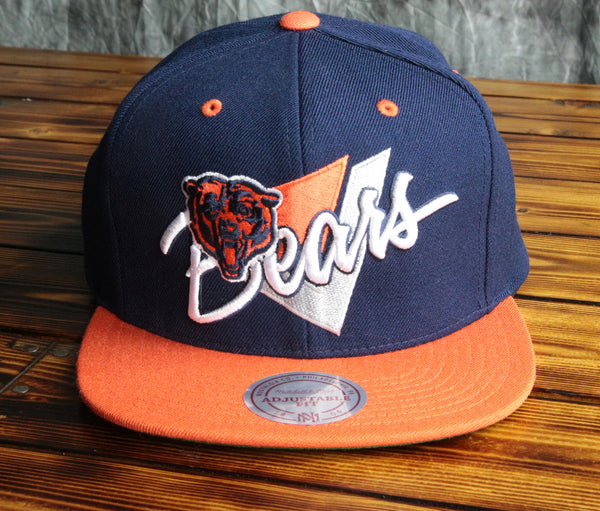 Chicago Bears Mitchell & Ness Triangle Script 2 Tone Snapback Hat