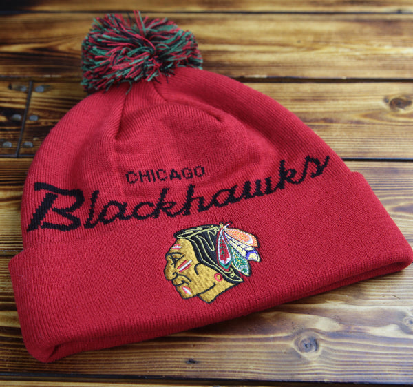 Chicago Blackhawks Mitchell & Ness Special Script Knit Hat