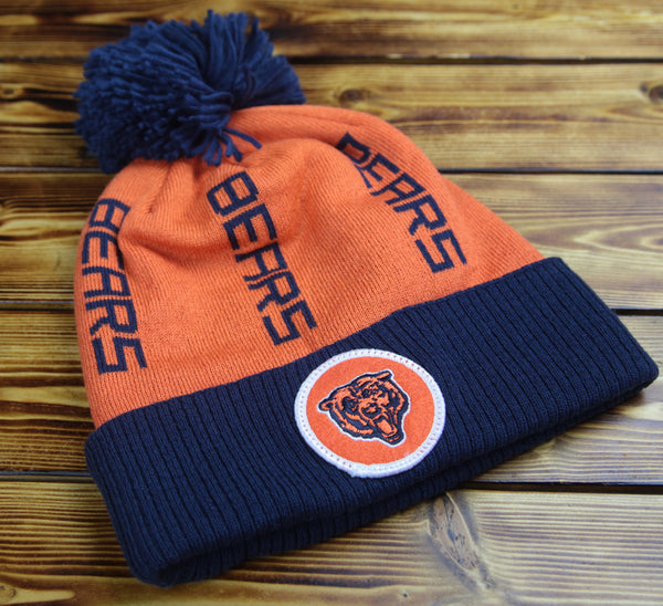 Chicago Bears Mitchell & Ness Vertical Wordmark Knit Hat