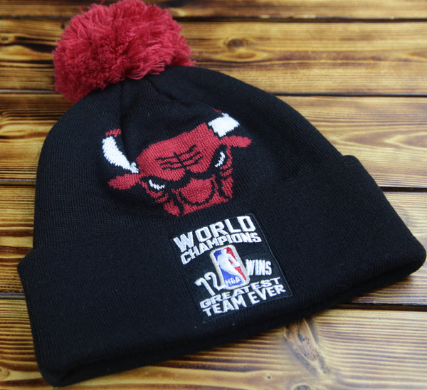 Chicago Bulls Mitchell & Ness Ring Pom Beanie Hat