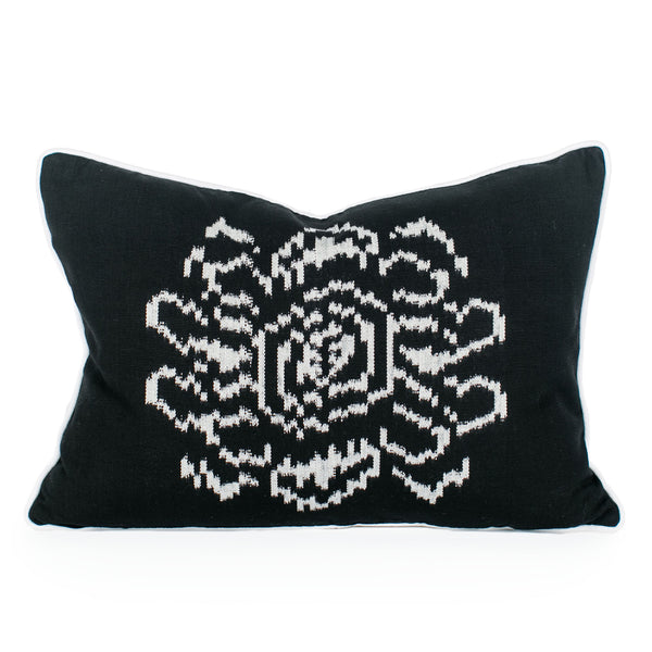 Black Floral Ikat Pillow